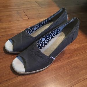 Gray Toms Peep Toe Wedges.